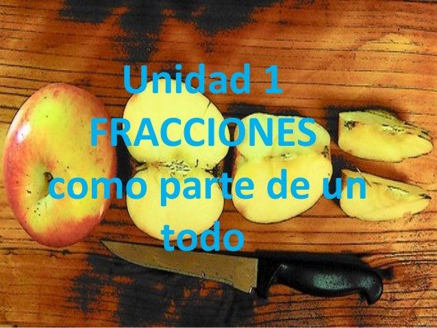 Unidad 1 FRACCIONES como parte de un todo