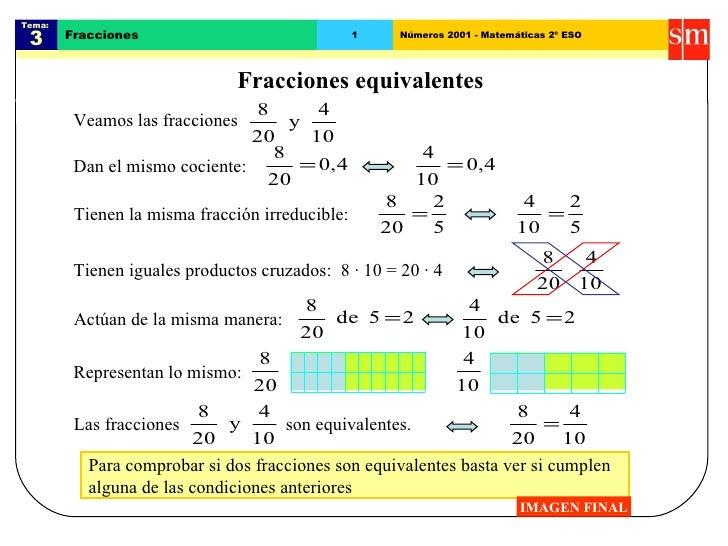 Para comprobar si dos fracciones son equivalentes basta ver si cumplen  alguna de las condiciones anteriores Tema:  3 Frac...