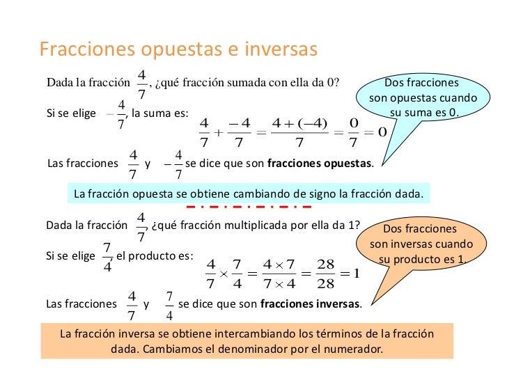 Fracciones opuestas e inversas                   4Dada la fracción     , ¿qué fracción sumada con ella da 0?           Dos...