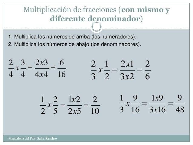 Multiplicación De Fracciones Con El Mismo Denominador 6º Primaria Fracciones