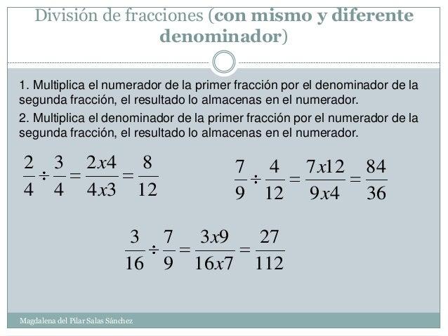 División De Fracciones Con El Mismo Denominador 6º