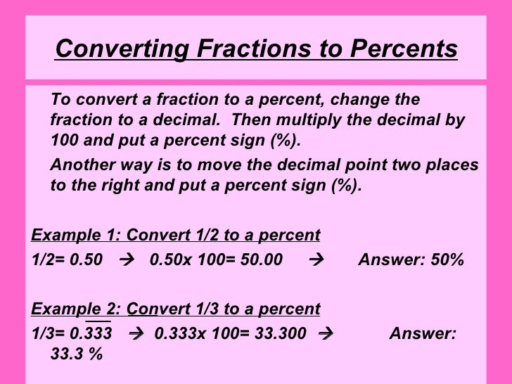 converting fractions to percents to convert a fraction to a
