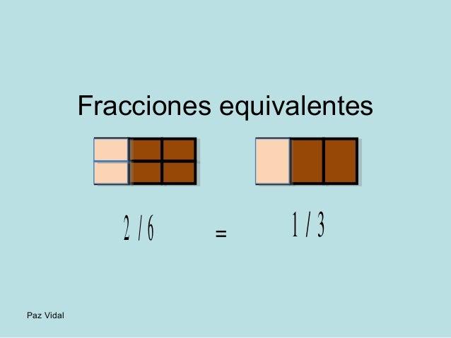 Paz Vidal  Fracciones equivalentes  2 / 6 = 1 / 3