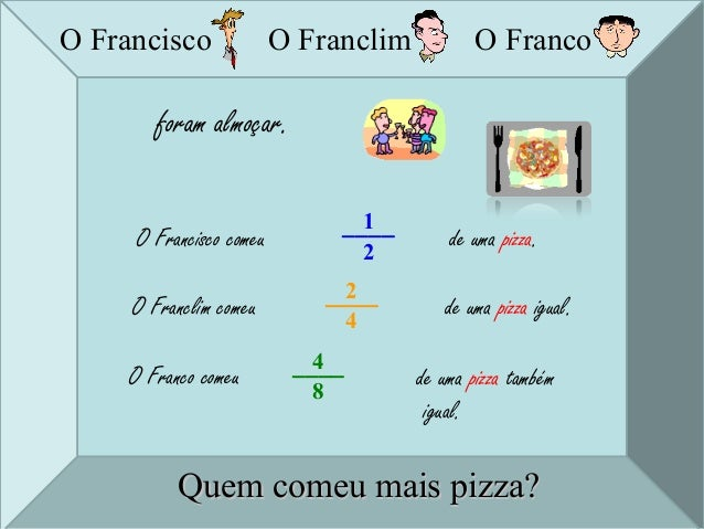 O Franclim O Franco foram almoçar. O Francisco comeu 1____ 2 de uma pizza. O Franclim comeu 2____ 4 de uma pizza igual. O ...