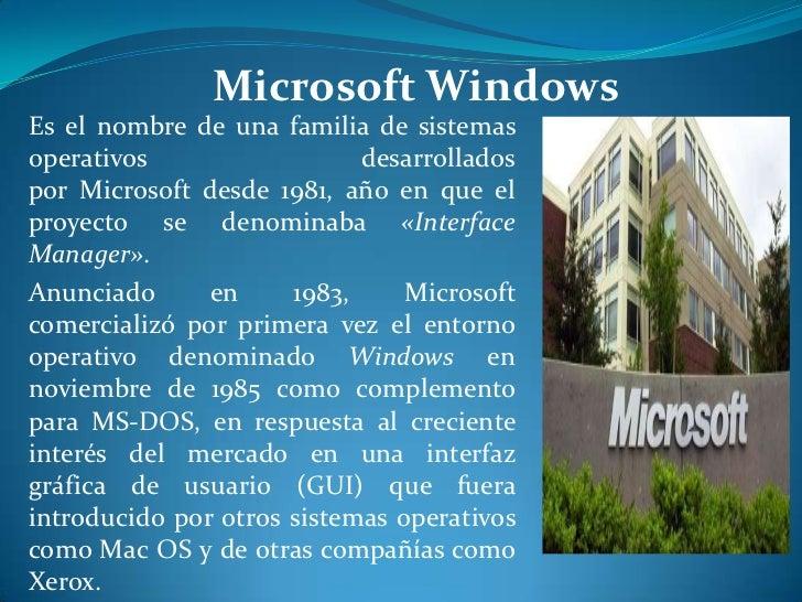 Microsoft WindowsEs el nombre de una familia de sistemasoperativos                  desarrolladospor Microsoft desde 1981,...