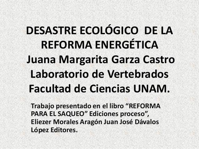 DESASTRE ECOLÓGICO DE LA REFORMA ENERGÉTICA Juana Margarita Garza Castro Laboratorio de Vertebrados Facultad de Ciencias U...