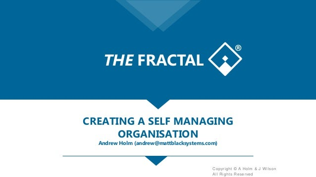 Copyright © A Holm & J Wilson All Rights Reserved CREATING A SELF MANAGING ORGANISATION Andrew Holm (andrew@mattblacksyste...