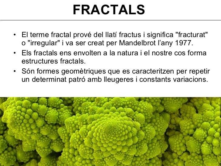 FRACTALS <ul><li>El terme fractal prové del llatí fractus i significa &quot;fracturat&quot; o &quot;irregular&quot; i va s...