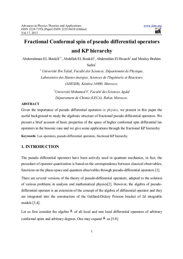Advances in Physics Theories and Applications www.iiste.orgISSN 2224-719X (Paper) ISSN 2225-0638 (Online)Vol.17, 20131Frac...