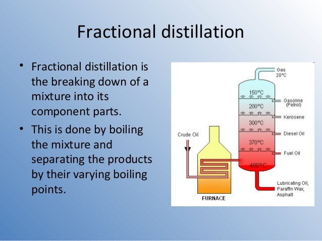 fractional distillation experiment Separated by simple or fractional distillation as discussed in mohrig experiment #2: distillation chem 213 – fall 2009.