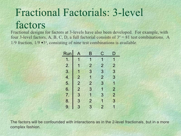 fractional factorial design minitab