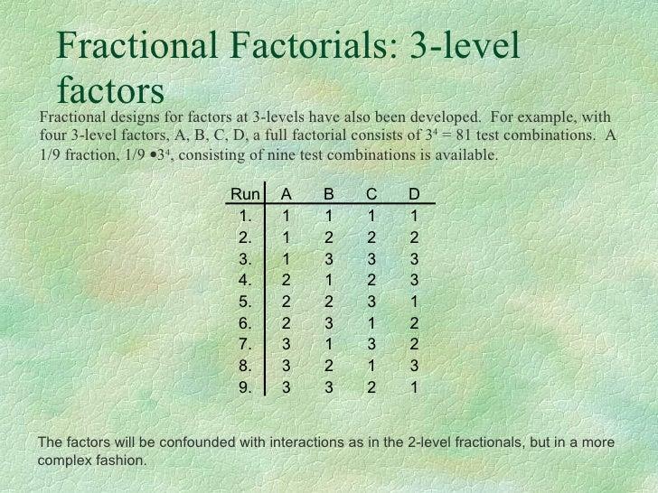 Fractional Factorials 3 Level