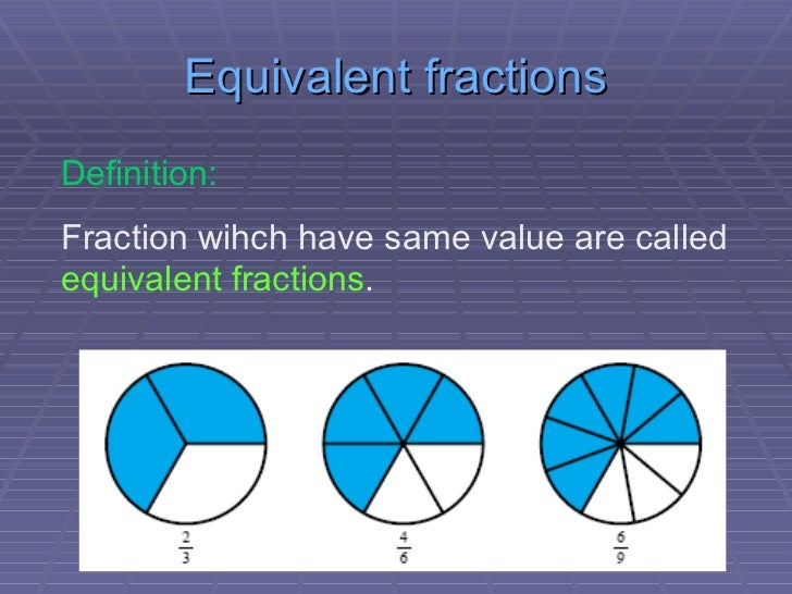 Equivalent Fractions Definition: ...