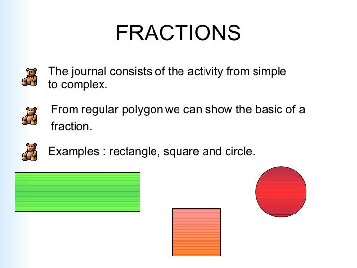FRACTIONS The journal consists of the activity from simple to complex. From regular polygon we can show the basic of a  fr...