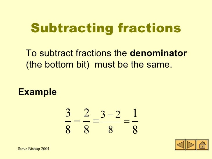 Fractions The Four Rules