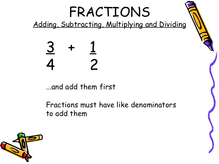 Fractions - Add, Subtract, Multiply and Divide