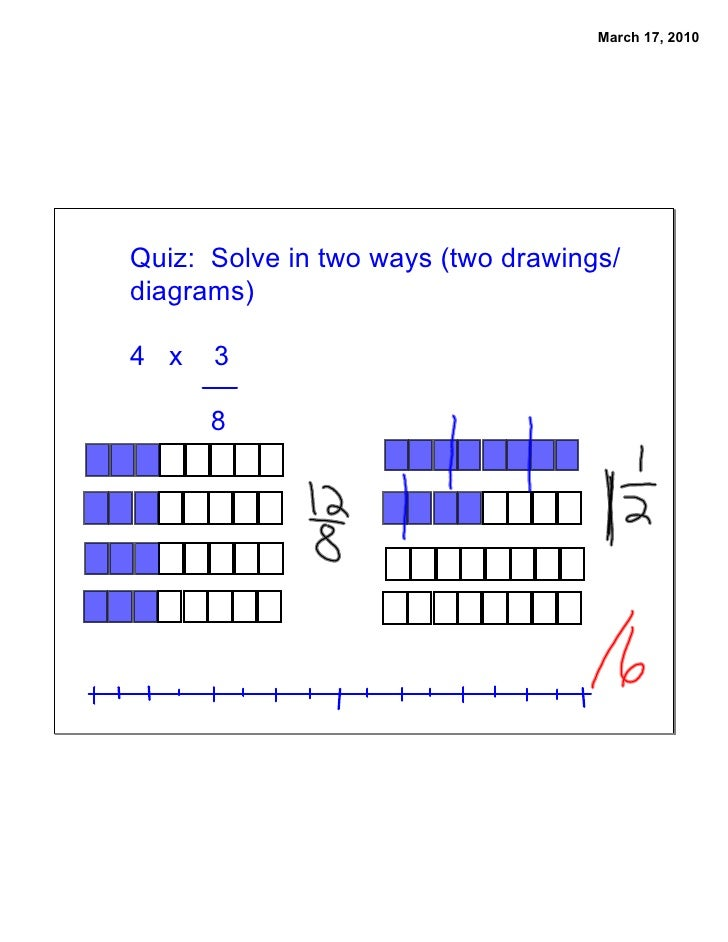 March 17, 2010     Quiz: Solve in two ways (two drawings/ diagrams)  4 x   3        8