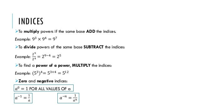 Fractions Comparing Numbers Indices Standard Form