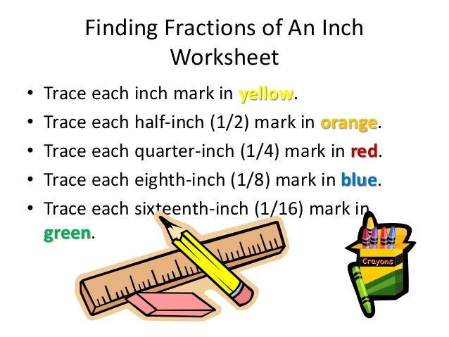 Fractions Of An Inch Powerpoint Inch Ruler With Fractions 9 Finding Fractions Of An Inch Worksheet