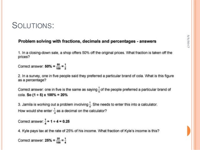 skillswise problem solving with fractions decimals and percentages