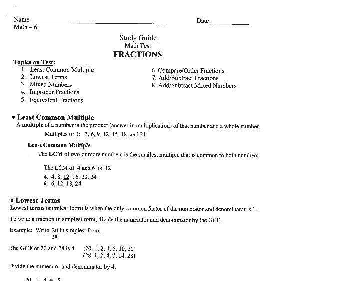 Fraction study guide 2011 adding and subtraction