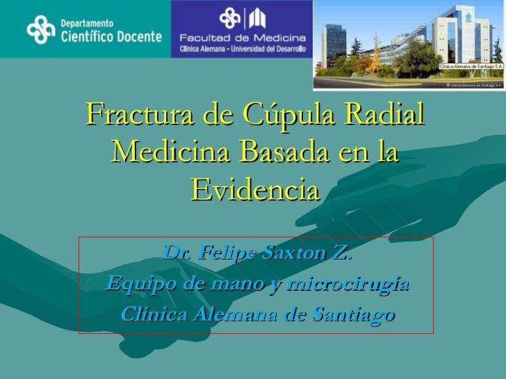 Fractura de Cúpula Radial   Medicina Basada en la         Evidencia       Dr. Felipe Saxton Z.  Equipo de mano y microciru...