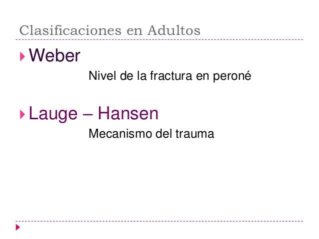 Clasificación de Lauge-Hansen Mecanismo de producción de la fractura 4 tipos principales:        1)Supinación-Aducción ...