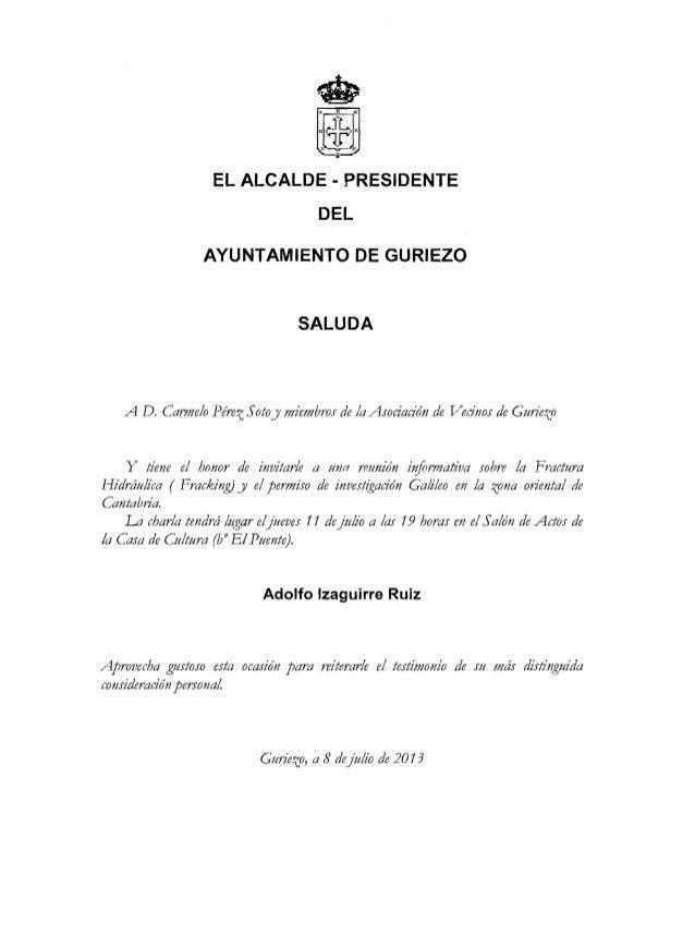 EL ALCALDE - PRESIDENTE DEL AYUNTAMIENTO DE GURIEZO SALUDA A D. Carmelo Pérez Sotoy miembros de la Asociación de Vecinos d...