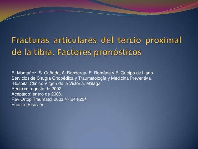 Material y método  Se revisaron 111 casos de fracturas articulares de la tibia proximal, intervenidas entre 1988 y 2000, ...