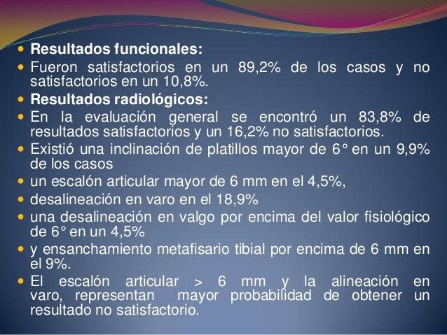  Del 10% de resultados no satisfactorios (12 casos), 7 son pacientes mayores de 50 años.  El tipo de fractura condicionó...