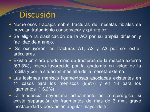  Conclusiones:  El tratamiento quirúrgico de las fracturas articulares de la extremidad proximal de la tibia proporciona...