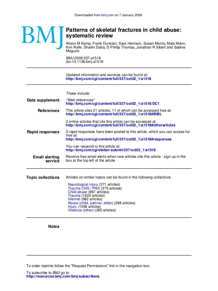 Downloaded from bmj.com on 7 January 2009                        Patterns of skeletal fractures in child abuse:           ...