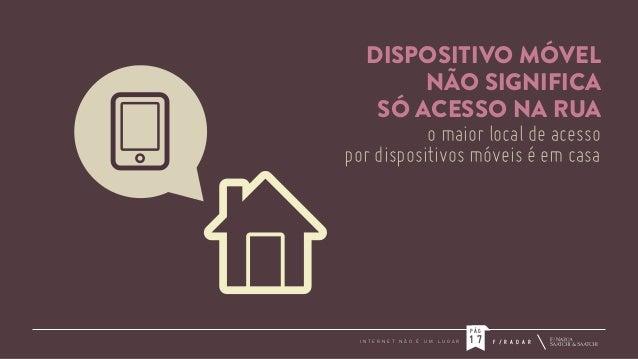 DISPOSITIVO MÓVEL NÃO SIGNIFICA SÓ ACESSO NA RUA o maior local de acesso por dispositivos móveis é em casa  PÁG I N T E R ...