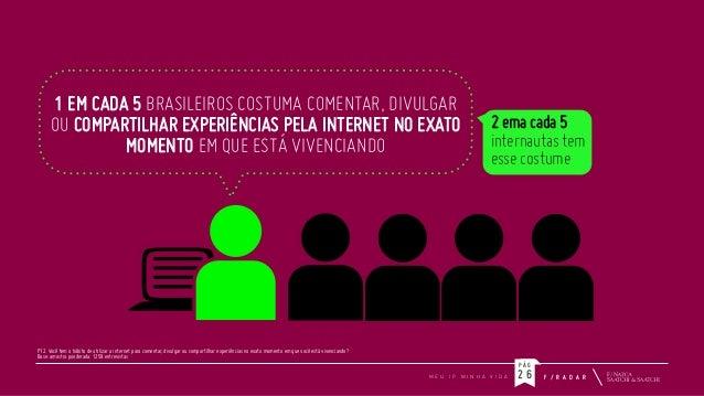 1 EM CADA 5 BRASILEIROS COSTUMA COMENTAR, DIVULGAR OU COMPARTILHAR EXPERIÊNCIAS PELA INTERNET NO EXATO MOMENTO EM QUE ESTÁ...
