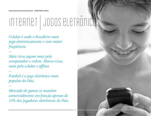 APRENDIZADOS 89 Celular é onde o brasileiro mais joga eletronicamente e com maior freqüência. - Mais ricos jogam mais pelo...