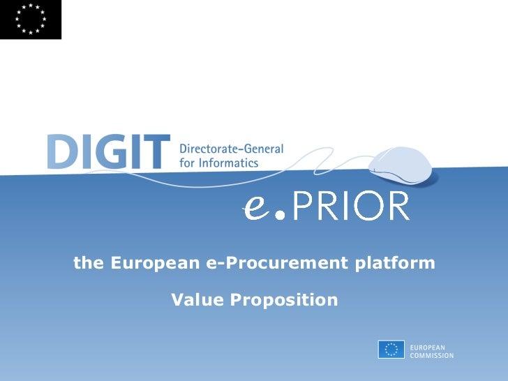 the European e-Procurement platform Value Proposition