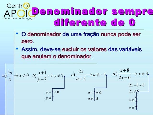Denominador sempreDenominador semprediferente de 0diferente de 0 OO denominadordenominador de uma fraçãode uma fração nun...