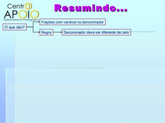 O que são?Frações com variável no denominadorDenominador deve ser diferente de zeroRegraResumindo...Resumindo...