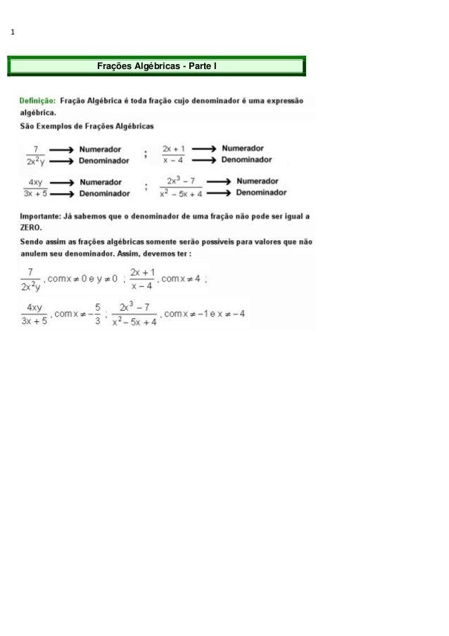 1 Frações Algébricas - Parte I