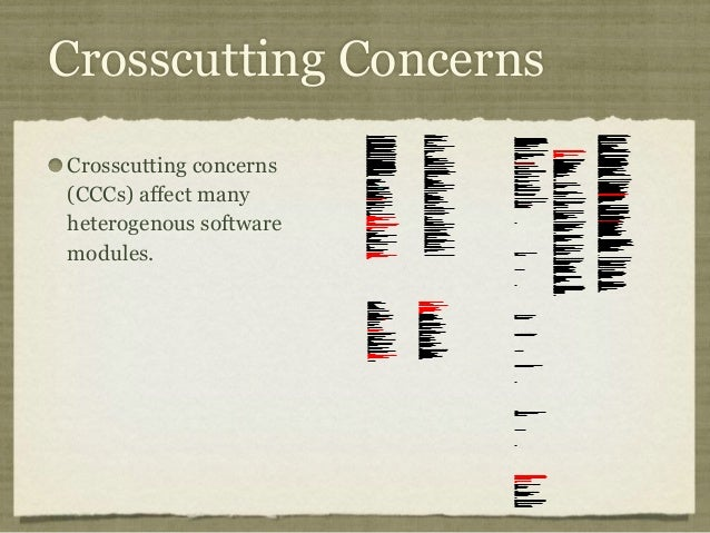Crosscutting Concerns Crosscutting concerns (CCCs) affect many heterogenous software modules. /* * =======================...