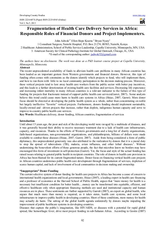 Developing Country Studies www.iiste.orgISSN 2224-607X (Paper) ISSN 2225-0565 (Online)Vol.3, No.5, 201392Fragmentation of ...