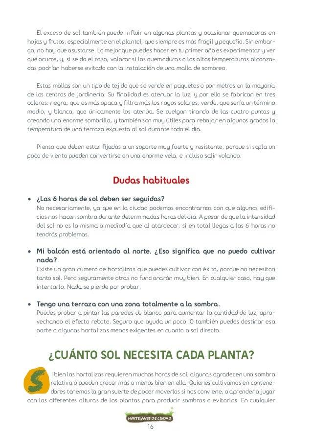16  Hortelanos de ciudad  El exceso de sol también puede influir en algunas plantas y ocasionar quemaduras en  hojas y fru...