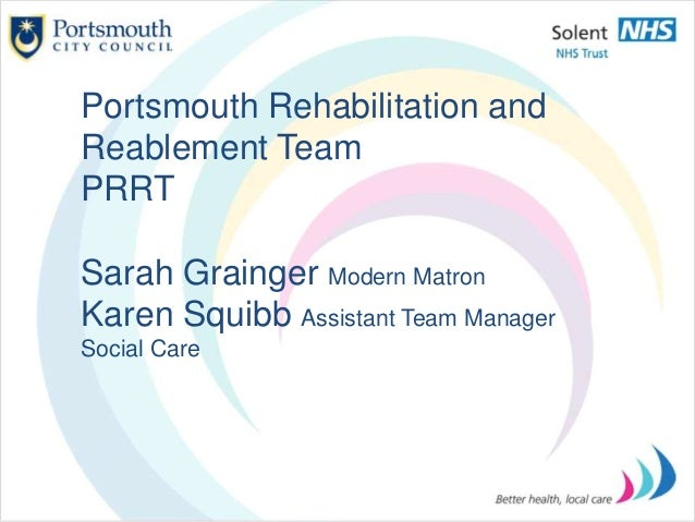 Portsmouth Rehabilitation and Reablement Team PRRT Sarah Grainger Modern Matron Karen Squibb Assistant Team Manager Social...