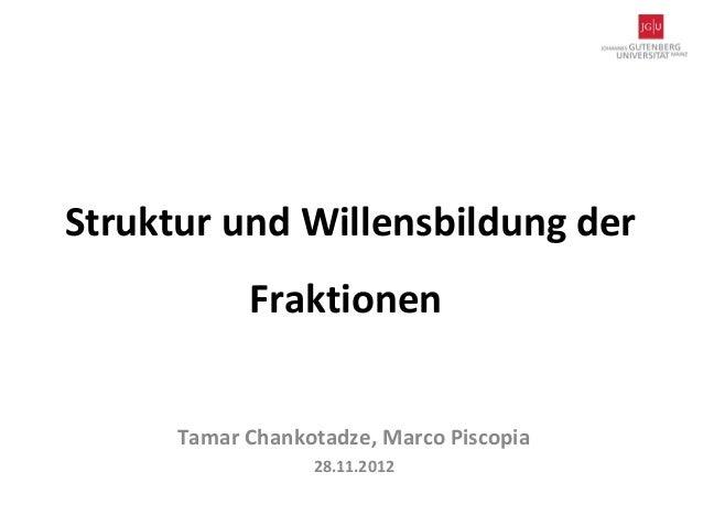 Struktur und Willensbildung der            Fraktionen      Tamar Chankotadze, Marco Piscopia                  28.11.2012