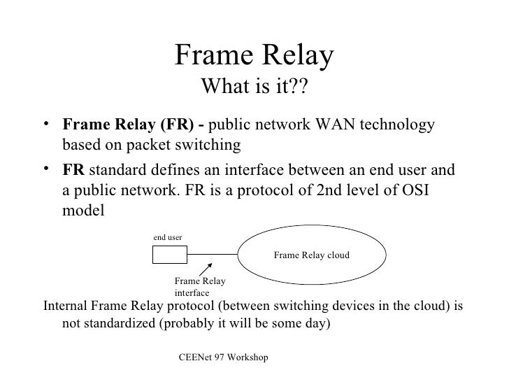 Frame Relay What is it?? <ul><li>Frame Relay (FR) -  public network WAN technology based on packet switching </li></ul><ul...