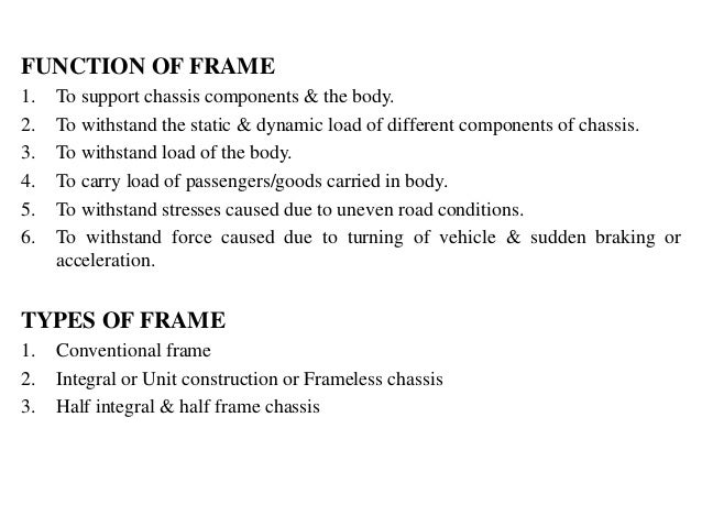Automobile - Frame, Chassis and Drives