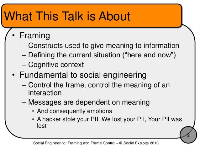 Social Engineering: Frames and Frame Control