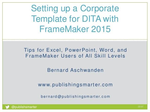 Framemaker Corporate Templates With Dita