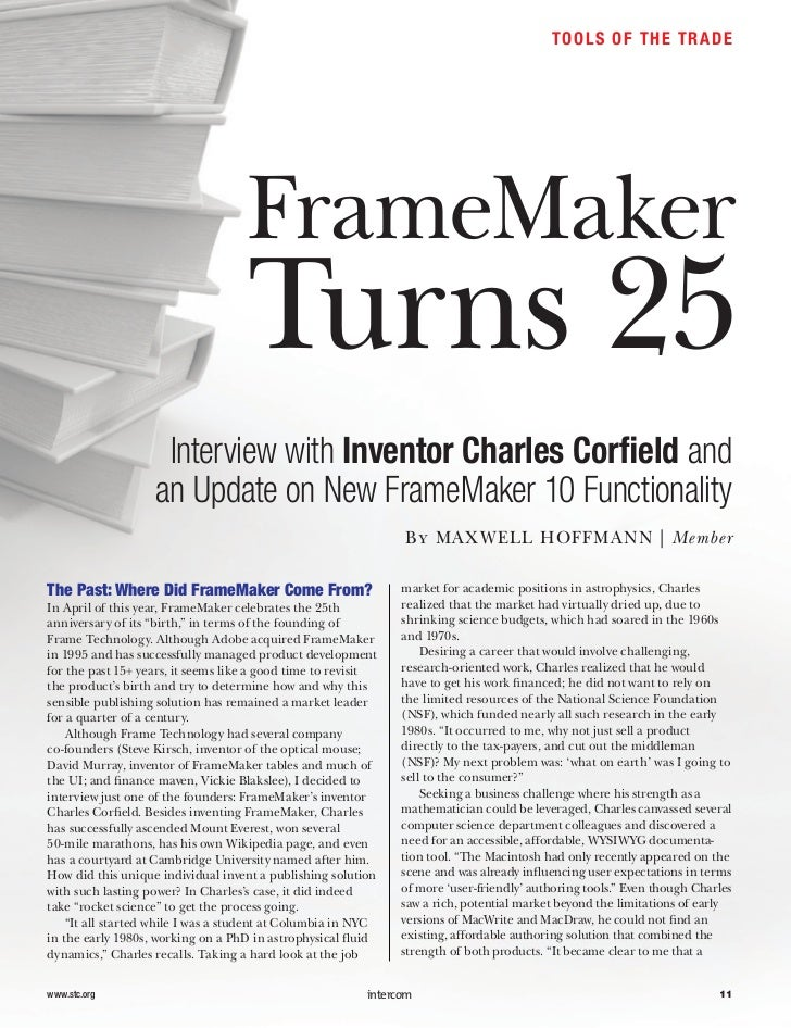 TO O L S OF THE T R A D E                                    FrameMaker                                    Turns 25       ...