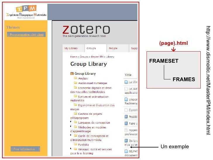 http://www.dismoitic.net/MasterIPM/index.html FRAMESET FRAMES (page).html  Un exemple